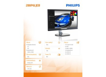 Philips 28'' 288P6LJEB LED UltraClear 4K UHD DVI MHL-HDMI DP Pivot Głośniki