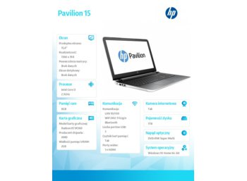 HP Inc. Pavilion 15 i3-6100U 1TB/8GB/DVR/W10/15,6 P1R94EA