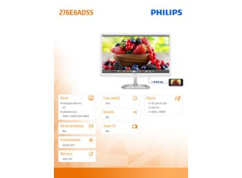 Philips 27'' 276E6ADSS IPS-ADS DVI HDMI MHL
