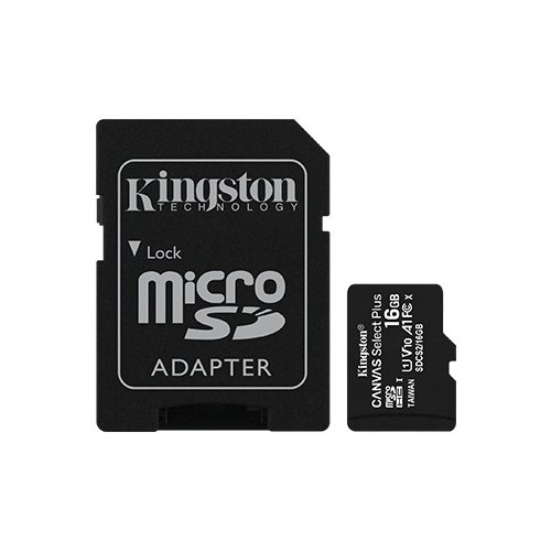 Kingston Karta pamięci microSD 16GB Canvas Select Plus 100MB/s Adapter