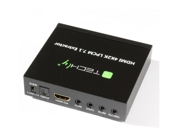 Techly HDMI 4K audio extractor SPDIF Toslink, 4x Jack 3.5mm, LPCM      5.1CH / 7.1CH