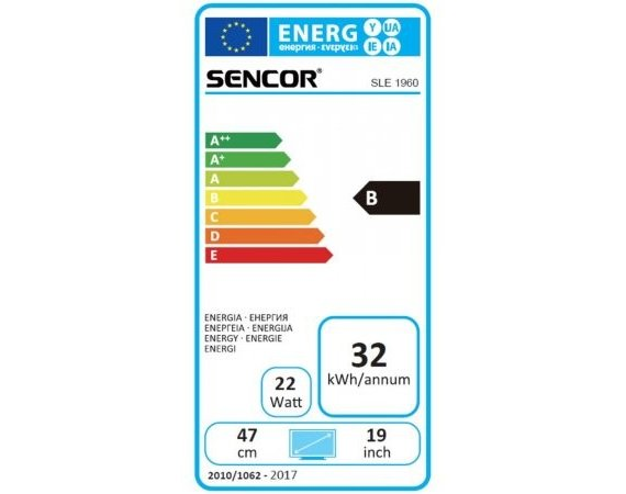Sencor 19'' D-LED SLE 1960, HD READY DVB-T/C , USB
