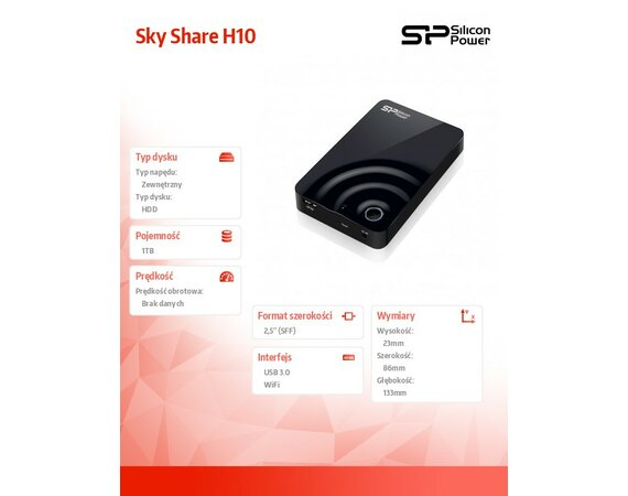 Silicon Power H10 1TB USB 3.0 / WIFI (bezprzewodowy) 802.11 b/g/n USB3.0 Black wireless