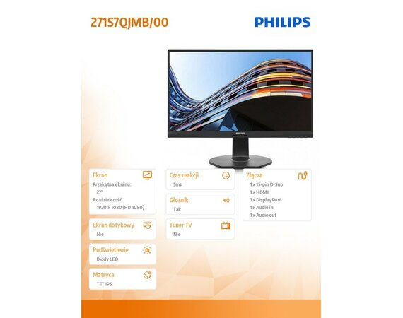 Philips Monitor 27 271S7QJMB IPS DP HDMI Pivot Głośniki