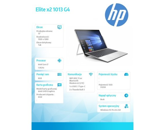 HP Inc. Notebook Elite x2 1013 G4 W10P i7-8565U/512/8G  7KN91EA