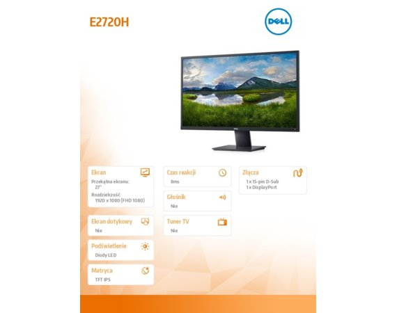 Dell Monitor E2720H 27'' IPS LED FullHD (1920x1080) /16:9/VGA/DP(1.2)/3Y PPG