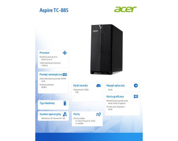 Acer Komputer Aspire TC-885 i5-8400/4GB/1TB/16GB Intel Optane/Keyboard+Mouse/Win 10