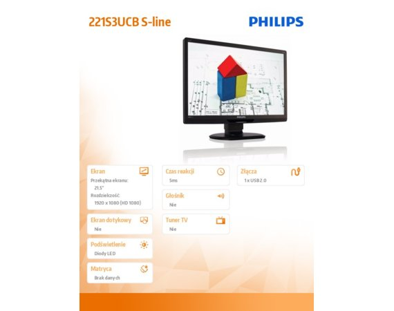 Philips 21.5'' 221S3UCB LED USB Czarny
