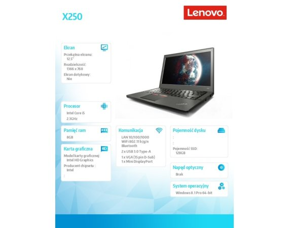 Lenovo Laptop poleasingowy ThinkPad X250
