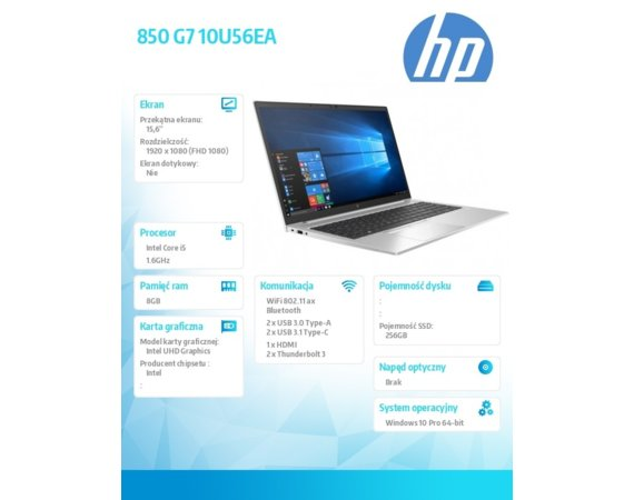 HP Inc. Notebook 850 G7 i5-10210U 256/8G/15,6/W10P 10U56EA
