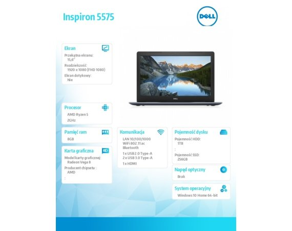 Dell Laptop Inspiron 5575-A410BLUDX Ryzen 5 2500U/15.6 FHD AntiGlare/8GB/1TB + SSD 256GB/BT/Radeon Vega 8 up to 8GB/Win 10 Blue   Repack