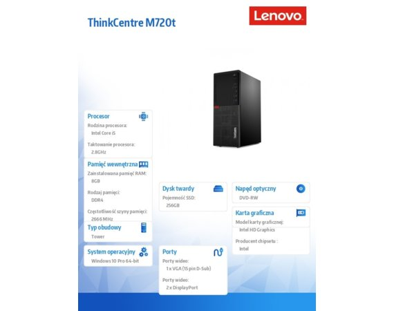 Lenovo Desktop ThinkCentre M720t TWR 10SQ002GPB W10Pro i5-8400/8GB/256GB/INT/DVD/3YRS OS