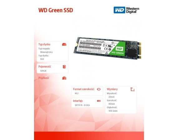 Western Digital WD Green SSD 120 GB M.2 2280 WDS120G1G0B
