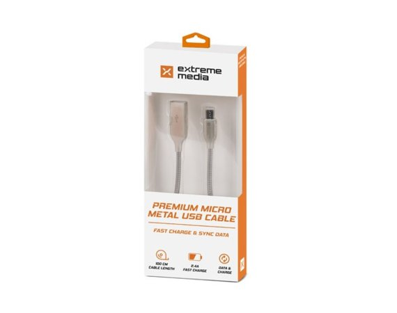 NATEC Kabel Extreme Media microUSB BM-AM 2.0 1m srebrny metal