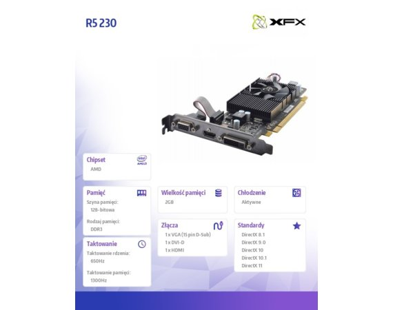 XFX Karta graficzna R5 230 Core Edition 2GB DDR3 650/1300 LowProfile (HDMI DVI VGA)