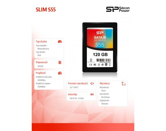 Silicon Power SSD SLIM S55 120GB 2,5 SATA3 520/370MB/s 7mm