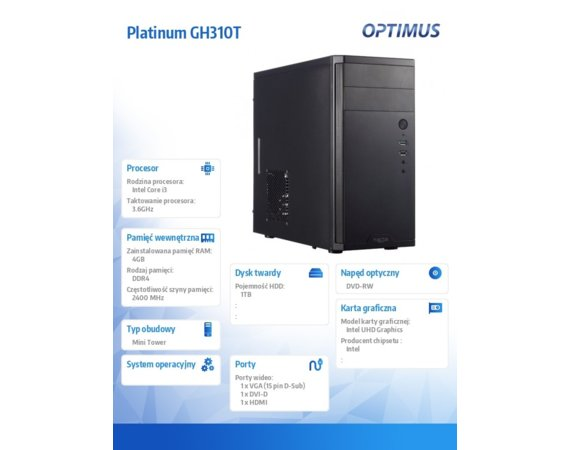 OPTIMUS Komputer Platinum GH310T i3-9100/4GB/1TB/DVD