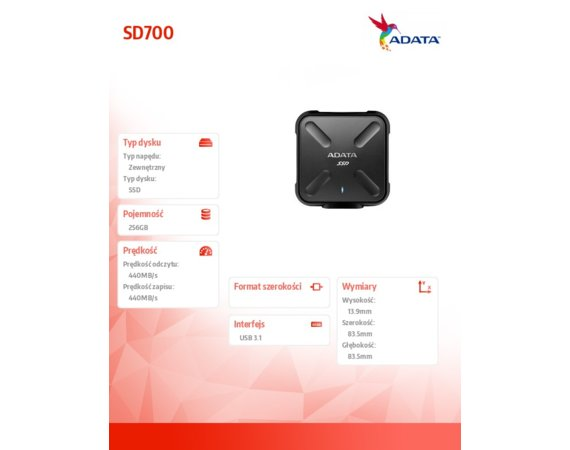 Adata SSD External SD700 256G USB3.1 Durable Czarny