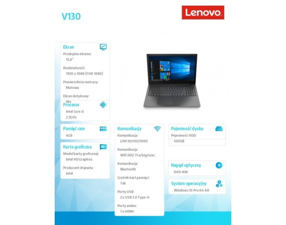 Lenovo Laptop V130-15IKB 81HN00F9PB W10Pro i3-7020U/4GB/500GB/INT/15.6 FHD IRON GREY/2YRS CI