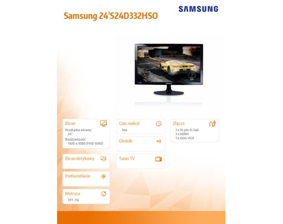 Samsung Monitor 24 cale S24D332HSO