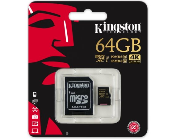 Kingston SDHC 64GB Class10 UHS-I Gold 90/45MB/s + adapter