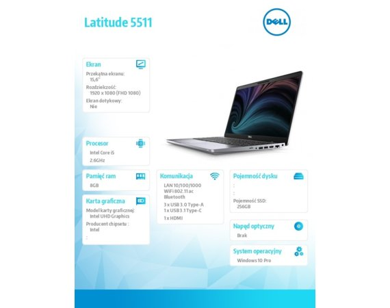Dell Notebook Latitude 5511 i5-10400H/8GB/SSD256GB/15.6 FHD/UHD/FPR/SCR/Backlit Kb/4 Cell/W10Pro/3Y BWOS