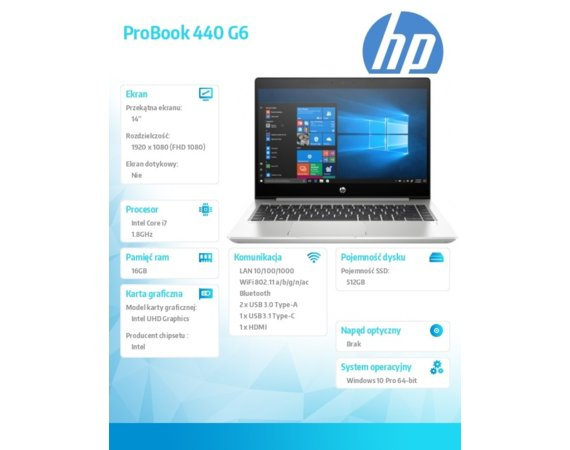 HP Inc. Notebook ProBook 440 G6 i7-8565U W10P 512/16G/14  5PQ22EA