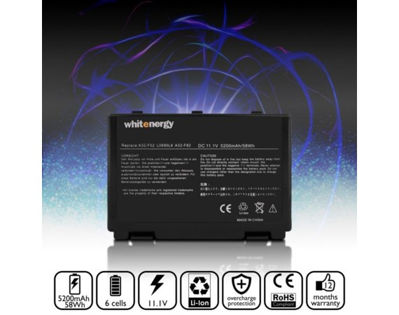 Whitenergy Bateria do laptopa Asus K50IJ 10.8-11.1V 5200mAh czarna