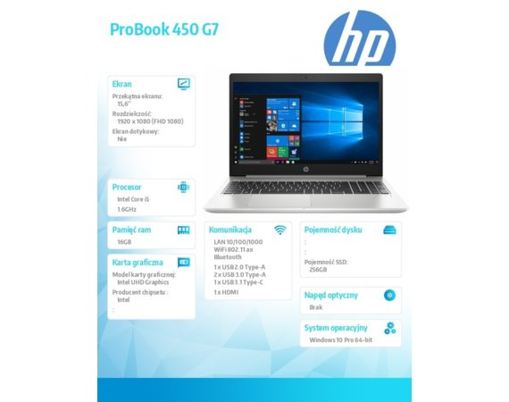 HP Inc. Notebook ProBook 450 G7 i5-10210U 256/16/W10P/15,6 9HP83EA