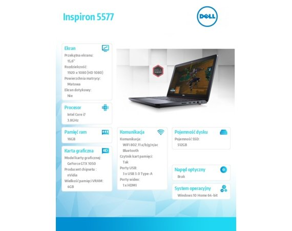 "Dell Inspiron 5577 Win10Home i7-7700HQ/512GB/16GB/GTX1050/15.6""FHD/KB-Backlit/Black/74WHR/1Y NBD + 1Y CAR"