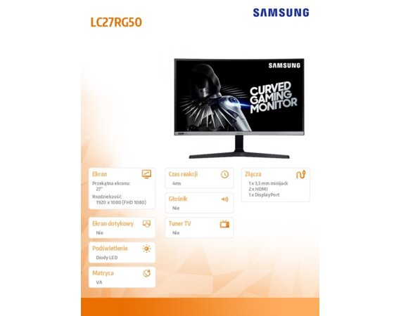 Samsung Monitor 27 cali C27RG50FQUXE LCD