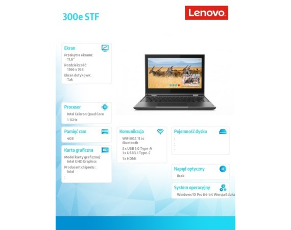 Lenovo Laptop 300e STF 81M9000PPB W10Pro EDU Academic N4100/4GB/128GB/INT/11.6 FHD/Touch/Black/1YR CI