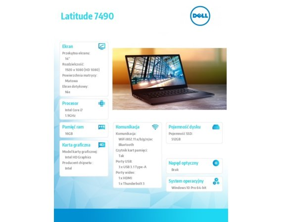 "Dell Latitude 7490 Win10Pro i7-8650U/512GB/16GB/Intel UHD 620/14.0""FHD/KB-Backlit/4-cell/3Y NBD"