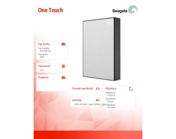 Seagate Dysk One Touch 4TB 2,5 STKC4000401 Silver