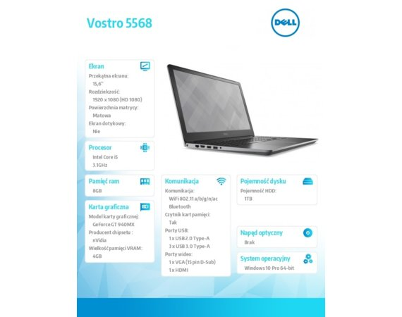 "Dell VOSTRO 5568 Win10Pro i5-7200U/1TB/128GB/8GB/GF940MX/15.6""FHD/Grey/3-cell/3Y NBD"