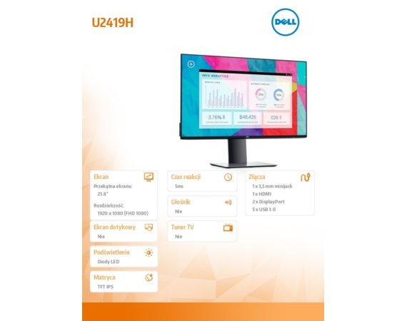 Dell Monitor U2419H 23,8 IPS LED Full HD (1920x1080) /16:9/HDMI/2xDP/5xUSB 3.0/3Y PPG