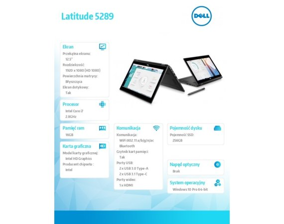 "Dell Latitude 5289  Win10Pro i7-7600U/256GB/16GB/Intel HD 620/12.5""FHD/Touch/KB-Backlit/60WHR/3Y NBD"