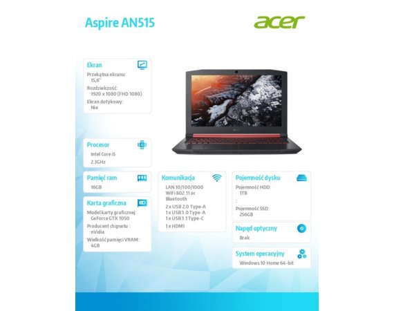 Acer Laptop Aspire AN515-53-52FA REPACK WIN10/i5-8300H/16GB/1T+256SSD/GTX1050/15.6 FHD IPS AntiGlare