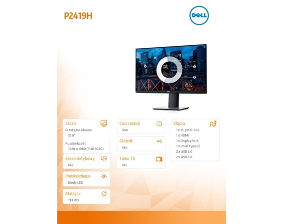 Dell Monitory 23,8 P2419H IPS LED  Full HD (1920x1080) /16:9/HDMI/DP/VGA/5xUSB/3Y PPG
