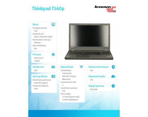 "Lenovo Thinkpad T540p 20BFA192PB Win7Pro&Win8.1Pro64-bit i7-4600M/8GB/1TB/Intel HD/DVD Rambo/6c/15.6"" FHD AG,WWAN Ready/Black/3Yrs OS"
