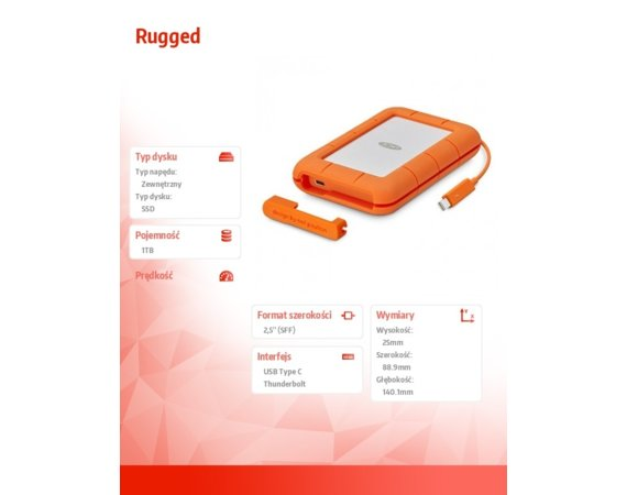 LaCie SSD USB-C Rugged 1TB 2,5'' STFS1000401