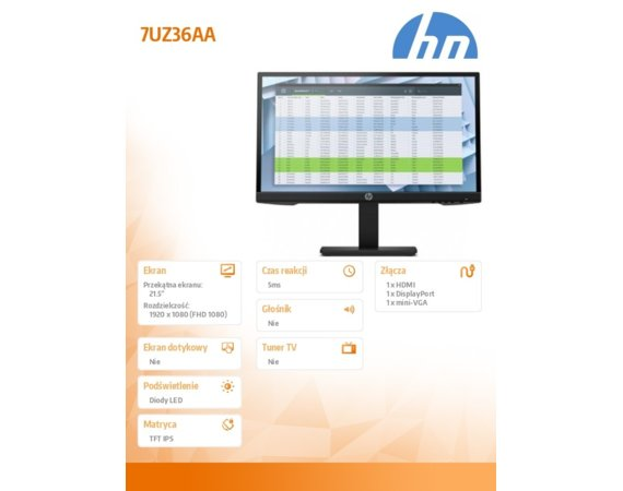 HP Inc. Monitor P22h G4 FHD Height Adjust  7UZ36AA