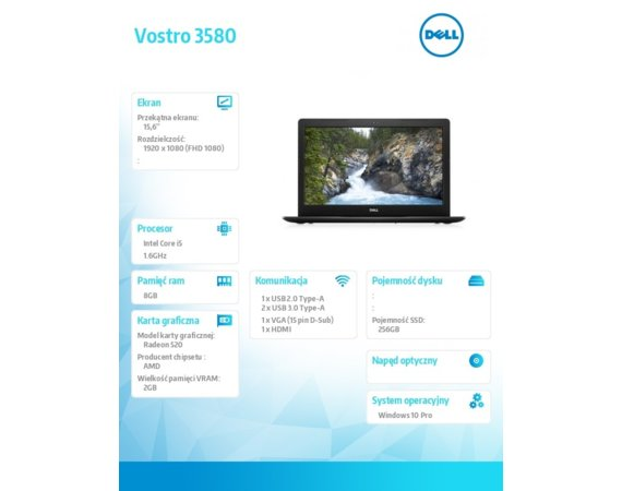 "Dell Laptop Vostro 3580 Win10Pro i5-8265U/256GB/8GB/AMD Radeon 520/15.6""FHD/3-cell/3Y Basic Onsite"