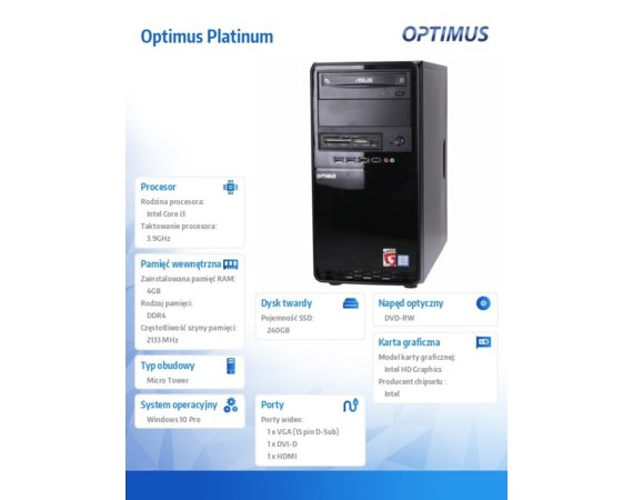 OPTIMUS Platinum GH110T i3-7100/4GB/240GB/W10PR