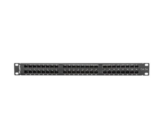 LANBERG Patch Panel 48 Port 1U Kat.5E czarny