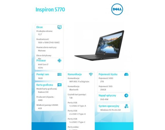 "Dell Notebook Inspiron 5770 Win10Pro i7-8550U/256GB/2TB/16GB/DVDRW/AMD Radeon 530/17.3""FHD/42WHR/Black/1Y NBD+1Y CAR"