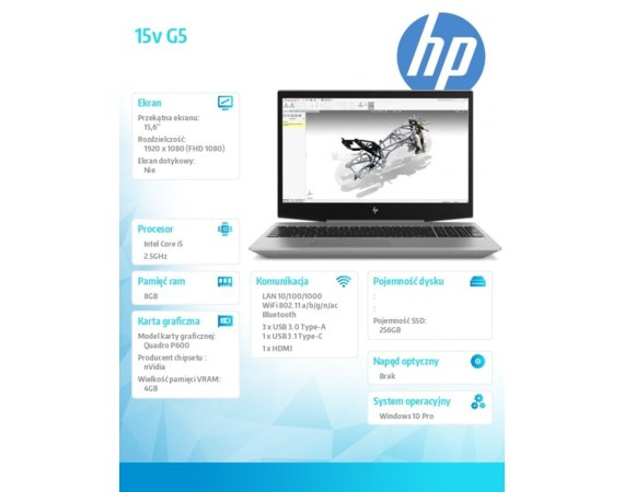 HP Inc. Laptop ZBook 15v G5 i5-8400H 256/8G/W10P/15,6 4QH22EA
