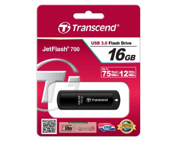 Transcend Pendrive JetFlash 700 16GB USB3.0 70/19 MB/s czarny