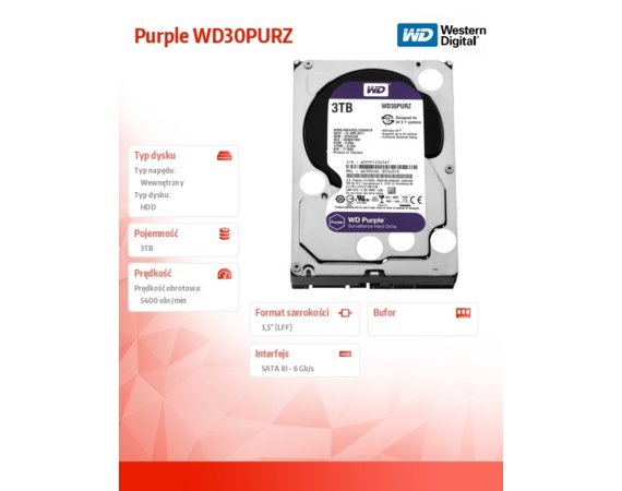 Western Digital Purple 3TB 3,5'' 64MB SATAIII/5400rpm