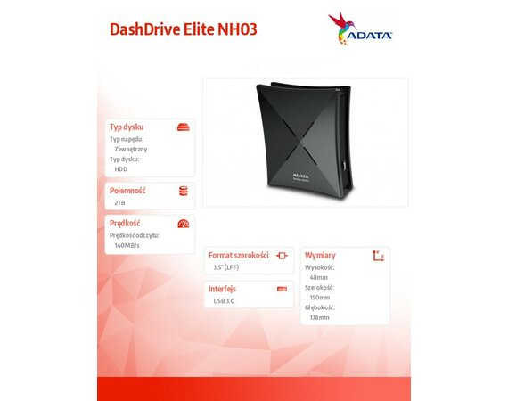 Adata DashDrive Elite NH03 2TB 3.5'' USB3.0 czarny